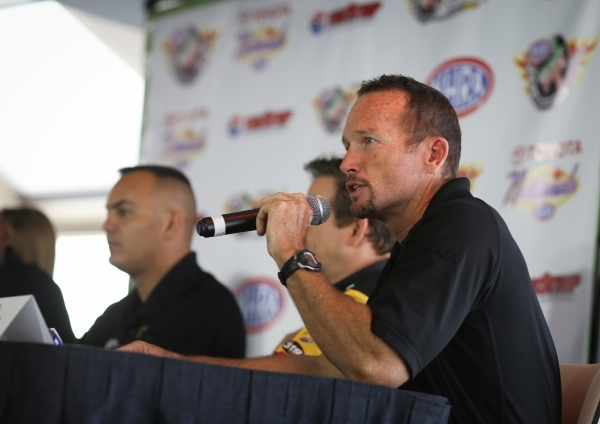 Funny Car driver Jack Beckman answers questions during a press conference for the NHRA Toyota Nationals held at the Stratosphere on Thursday, Oct. 29, 2015 in Las Vegas. The race will take place f ...