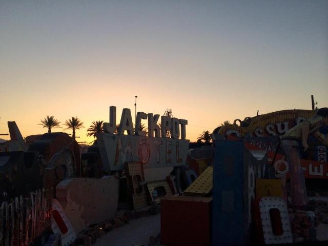 The sun sets over the Neon Boneyard on Feb. 17, 2015. (Stephanie Grimes/Las Vegas Review-Journal)
