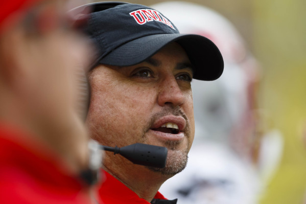 Sep 19, 2015; Ann Arbor, MI, USA; UNLV Rebels head coach Tony Sanchez during the second quarter against the Michigan Wolverines at Michigan Stadium. Mandatory Credit: Rick Osentoski-USA TODAY Sports