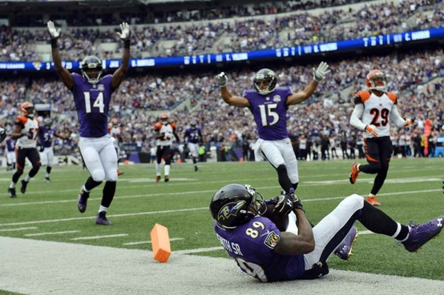 Sep 27, 2015; Baltimore, MD, USA; Baltimore Ravens celebrates after wide receiver Steve Smith (89)  third quarter touchdown against the Cincinnati Bengals at M&T Bank Stadium. (Tommy Gilligan/ ...