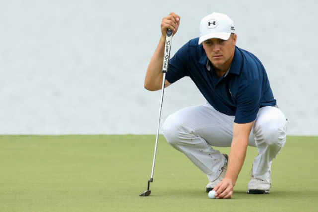 Sep 27, 2015; Atlanta, GA, USA; Jordan Spieth lines up a putt on the sixth green during the final round of the Tour Championship by Coca-Cola at East Lake Golf Club. (Jason Getz/USA Today Sports)