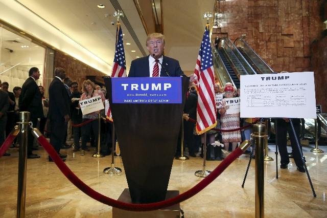Republican presidential candidate Donald Trump speaks during a news conference to reveal his tax policy at Trump Tower in Manhattan, New York September 28, 2015.  (Shannon Stapleton/Reuters)