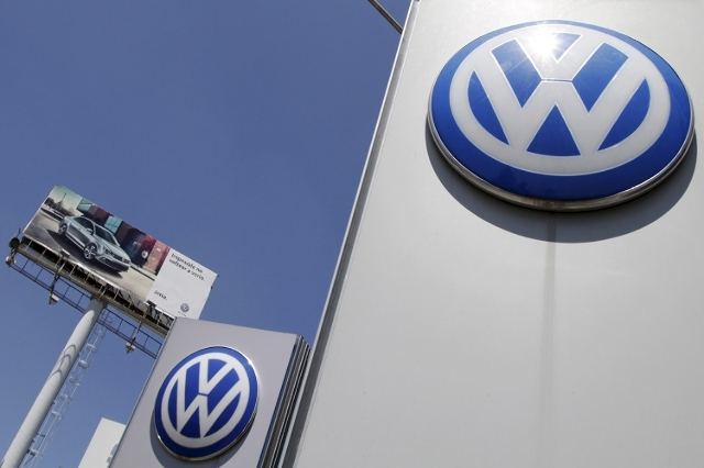 The logo of German carmaker Volkswagen is seen at the Volkswagen (VW) automobile manufacturing plant in Puebla near Mexico City September 23, 2015. (Reuters/Imelda Medina)