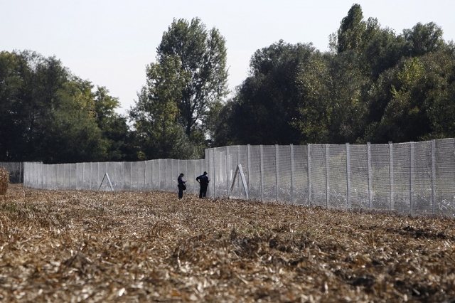 A fence erected by Hungarian army soldiers is seen on the border with Croatia near Zakany, Hungary October 1, 2015. (Reuters/Bernadett Szabo)