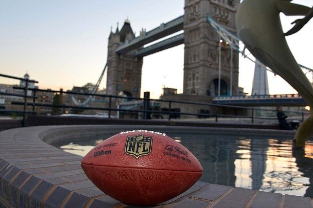 Oct 1, 2015; London, United Kingdom; General view of a NFL Wilson official Duke football at the Tower Bridge and River Thames in advance of the NFL International Series game between the New York J ...