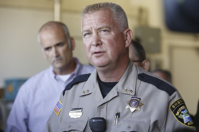 Douglas county sheriff John Hanlin pauses while speaking to media after a mass shooting at Umpqua Community College in Roseburg,Oregon October 1, 2015. A gunman opened fire at a community college  ...