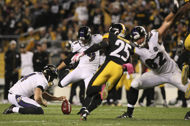 Oct 1, 2015; Pittsburgh, PA, USA; Baltimore Ravens kicker Justin Tucker (9) kicks a field goal against the Pittsburgh Steelers during the second half at Heinz Field. The Ravens won the game, 23-20 ...