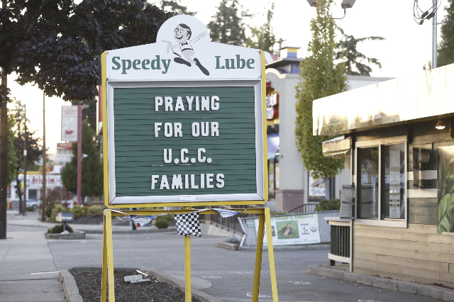 A sign expresses local people's sentiments following a mass shooting at Umpqua Community College in Roseburg, Oregon October 1, 2015. A gunman opened fire at a community college in southwest ...