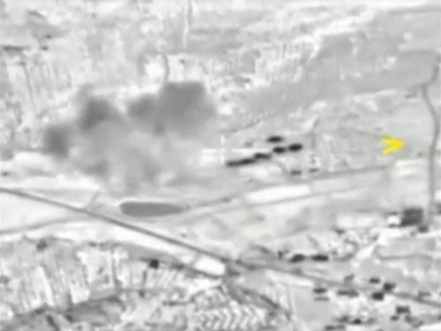 A frame grab taken from footage released by Russia's Defence Ministry October 2, 2015, shows smoke rising after airstrikes carried out by Russian air force in Maarat al-Numan in Syria. Russi ...