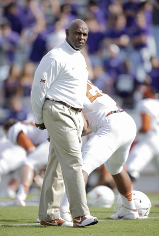 Oct 3, 2015; Fort Worth, TX, USA;  University of Texas Longhorns head coach Charlie Strong before the game against the Texas Christian University Horned Frogs at Amon G. Carter Stadium. Mandatory  ...