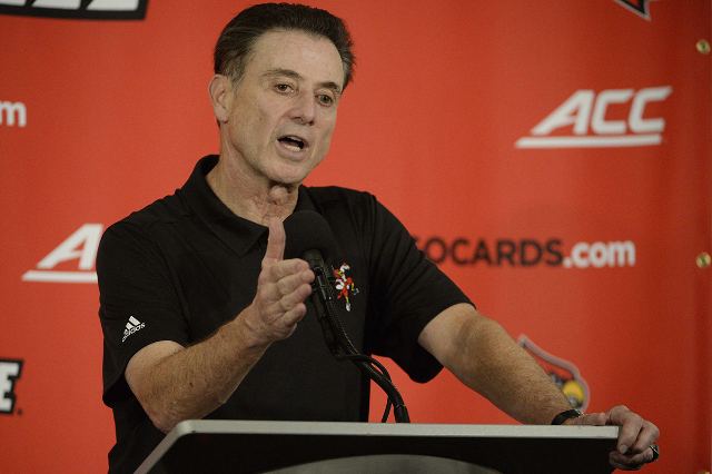Oct 3, 2015; Louisville, KY, USA; Louisville Cardinals head coach Rick Pitino talks to the media following a scrimmage at KFC YUM! Center. (Jamie Rhodes/USA Today Sports)