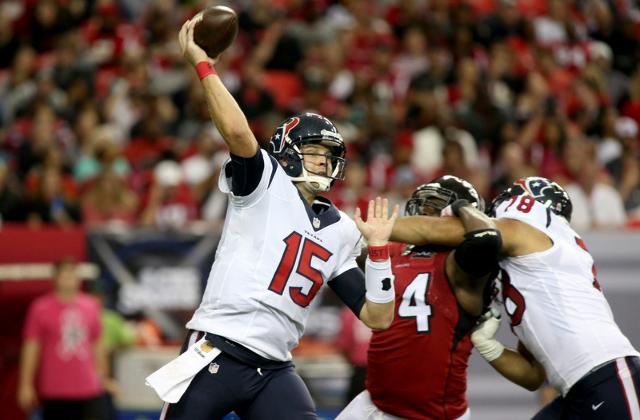 Oct 4, 2015; Atlanta, GA, USA; Houston Texans quarterback Ryan Mallett (15) attempts a pass in the second quarter of their game against the Atlanta Falcons at the Georgia Dome. (Jason Getz/USA Tod ...