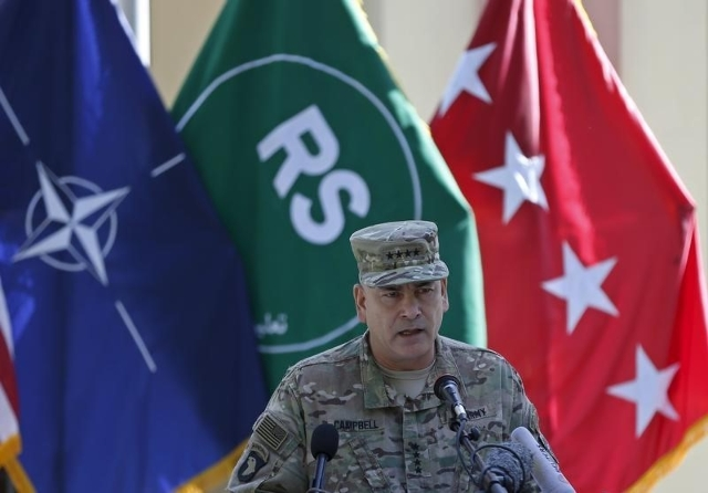 U.S. General John Campbell, commander of NATO-led International Security Assistance Force (ISAF), speaks during a ceremony to commemorate Memorial Day in Kabul, May 25, 2015.  REUTERS/Omar Sobhani ...