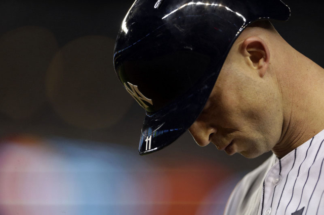 Oct 6, 2015; Bronx, NY, USA; New York Yankees center fielder Brett Gardner (11) reacts after grounding out against the Houston Astros during the eighth inning in the American League Wild Card play ...