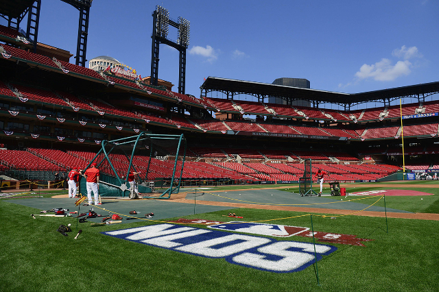 Oct 8, 2015; St. Louis, MO, USA; St. Louis Cardinals take batting practice during NLDS workout day prior to game one of the NLDS against the Chicago Cubs at Busch Stadium. (Jeff Curry/USA Today Sp ...