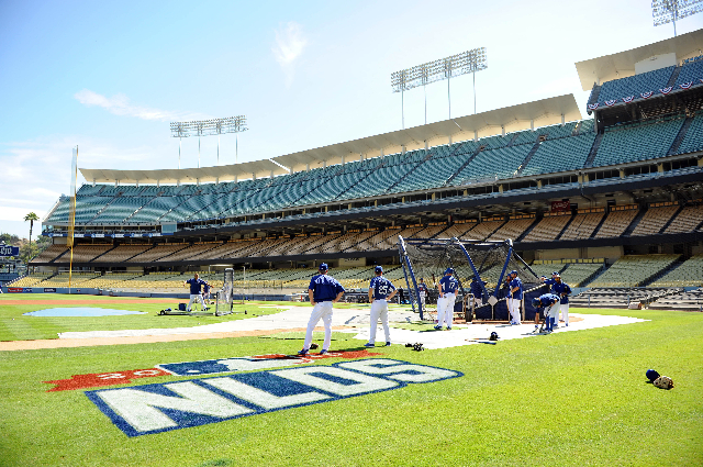 October 8, 2015; Los Angeles, CA, USA; General view as Los Angeles Dodgers hit during workouts before game one of the NLDS at Dodger Stadium. (Gary A. Vasquez/USA Today Sports)