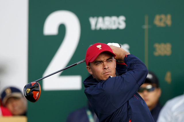 U.S team member Rickie Fowler tees off on the second hole during the foursome matches of the 2015 Presidents Cup golf tournament in Incheon, South Korea, October 10, 2015.  (Kim Hong-Ji/Reuters)