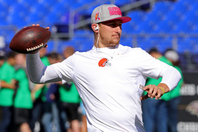 Oct 11, 2015; Baltimore, MD, USA; Cleveland Browns quarterback Johnny Manziel (2) warms up prior to the game against the Baltimore Ravens at M&T Bank Stadium. Mandatory Credit: Mitch Stringer- ...