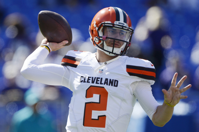 Oct 11, 2015; Baltimore, MD, USA; Cleveland Browns quarterback Johnny Manziel (2) drops back to pass before the game against the Baltimore Ravens at M&T Bank Stadium. (Tommy Gilligan/USA Today ...