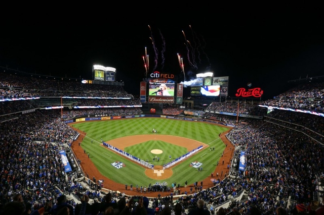 Oct 17, 2015; New York City, NY, USA; A general view during the playing of the national anthem before game one of the NLCS between the Chicago Cubs and the New York Mets at Citi Field. (Brad Penne ...