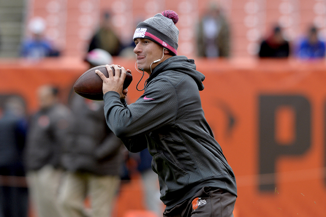 Oct 18, 2015; Cleveland, OH, USA; Cleveland Browns quarterback Johnny Manziel (2) warms up before the game between the Cleveland Browns and the Denver Broncos at FirstEnergy Stadium. (Ken Blaze/US ...