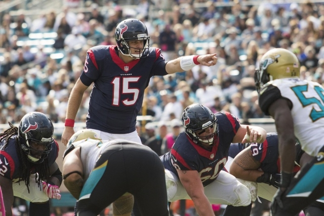 Oct 18, 2015; Jacksonville, FL, USA; Houston Texans quarterback Ryan Mallett (15) calls out a play in the fourth quarter against the Jacksonville Jaguars at EverBank Field. The Houston Texans won  ...