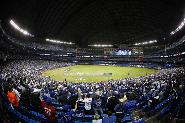 Oct 19, 2015; Toronto, Ontario, CAN; General view of player introductions prior to game three of the ALCS between the Toronto Blue Jays and the Kansas City Royals at Rogers Centre. (John E. Sokolo ...