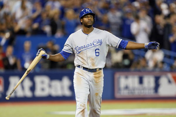 Oct 20, 2015; Toronto, Ontario, CAN; Kansas City Royals center fielder Lorenzo Cain (6) reacts after striking out during the fifth inning against the Toronto Blue Jays in game four of the ALCS at  ...