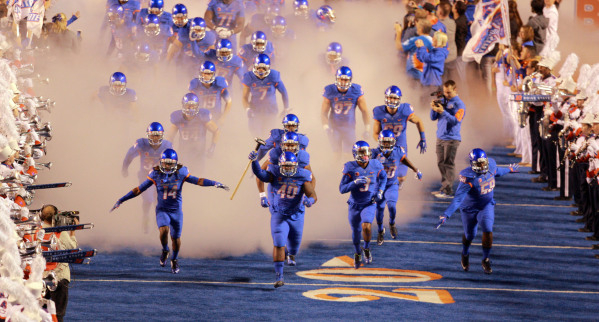 Oct 24, 2015; Boise, ID, USA; Boise State Broncos defensive tackle Armand Nance (40) leads the team onto the field prior to kickoff against the Wyoming Cowboys at Albertsons Stadium. Mandatory Cre ...