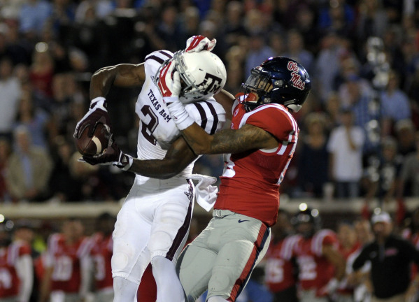 Oct 24, 2015; Oxford, MS, USA; Texas A&M Aggies wide receiver Speedy Noil (2) attempts to catch a pass against Mississippi Rebels defensive back Mike Hilton (38) during the game at Vaught-Hemi ...