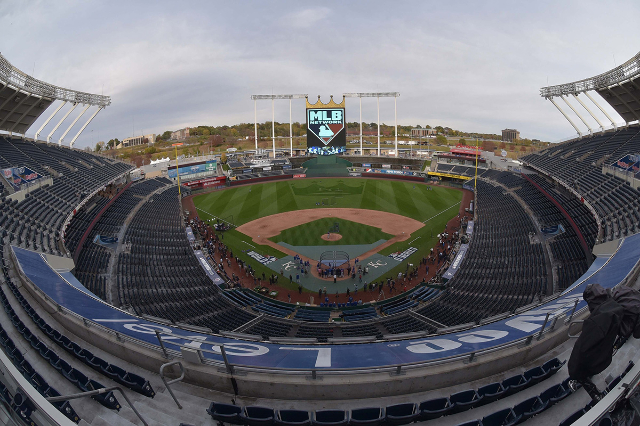 Oct 26, 2015; Kansas City, MO, USA; A general view of the stadium during the New York Mets workout the day before game one of the 2015 World Series against the Kansas City Royals at Kauffman Stadi ...