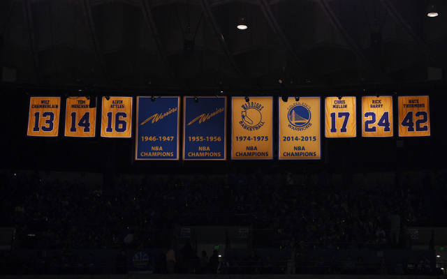 Oct 27, 2015; Oakland, CA, USA; A view of the Golden State Warriors championship banner before the game against the New Orleans Pelicans at Oracle Arena. Mandatory Credit: Kyle Terada-USA TODAY Sports