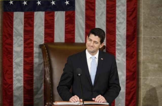 Newly elected Speaker of the U.S. House of Representatives Paul Ryan addresses the House for the first time on Capitol Hill in Washington, Oct. 29, 2015. (Gary Cameron/Reuters)