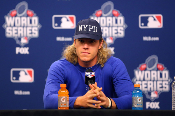 Oct 29, 2015; New Yrok, NY, USA; New York Mets starting pitcher Noah Syndergaard (34) speaks during a press conference during practice a day before game three of the 2015 World Series against the  ...