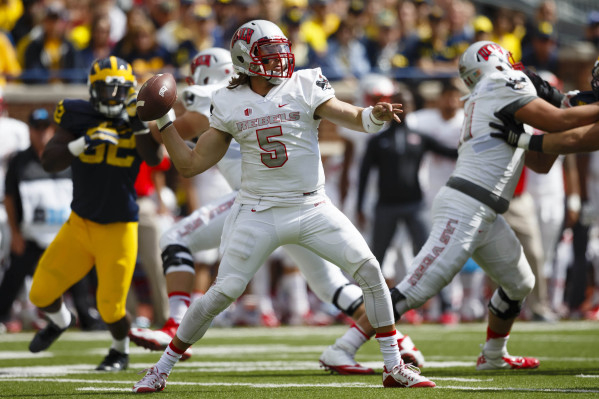 UNLV Rebels quarterback Blake Decker (5) passes the ball in the third quarter against the Michigan Wolverines at Michigan Stadium in Ann Arbor, Sept. 19, 2015. Michigan won 28-7. (Rick Osentoski-U ...