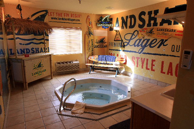 A jacuzzi room sponsored by Anheuser-Busch and branded with their Landshark beer logo is seen at Sheri's Ranch brothel in Pahrump Wednesday, Nov. 26, 2014. (Sam Morris/Las Vegas Review-Journal)