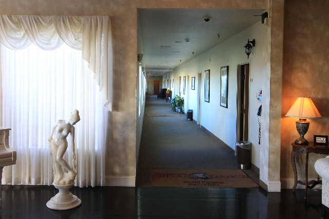 This is the foyer and a hallway leading to private rooms at Sheri's Ranch brothel in Pahrump Wednesday, Nov. 26, 2014. (Sam Morris/Las Vegas Review-Journal)