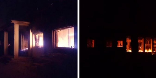 """Doctors Without Borders sent this message and photo Friday: """"#MSF #Kunduz trauma center aflame after aerial attack this morn. Staff tending to patients, each other, in aftermath"""""""