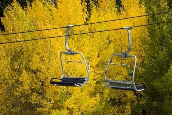 Aspen trees are seen bursting in colors while a ski lift sits idled at Las Vegas Ski and Snowboard Resort on Monday, Sept. 28,2015. 2015. JEFF SCHEID/LAS VEGAS REVIEW-JOURNAL Follow @jlscheid