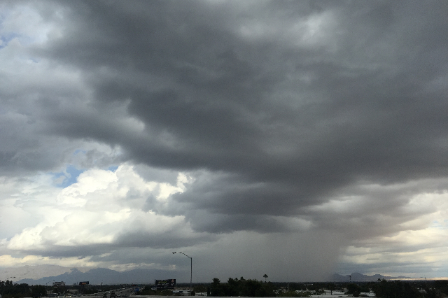Storm clouds are seen over the Las Vegas Valley on Sunday, October 18, 2015. (Kristen DeSilva/Las Vegas Review-Journal)