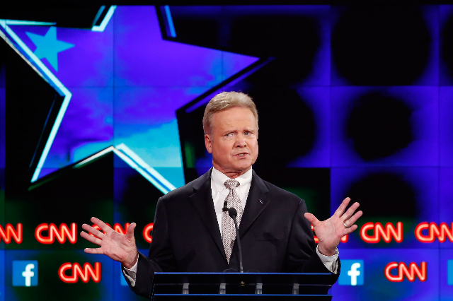 U.S. democratic presidential candidate and former U.S. Sen. Jim Webb speaks during the first official Democratic candidates debate of the 2016 presidential campaign in Las Vegas, Oct. 13, 2015. (L ...