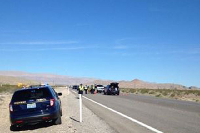 One person is dead after a hit-and-run crash Wednesday, Oct. 14, 2015, on U.S. Highway 93 near the Interstate 15 interchange north of Las Vegas. (Nevada Highway Patrol)