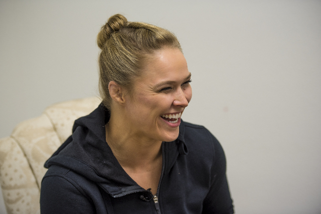 Ronda Rousey laughs during an interview at the Las Vegas Production Studio in Las Vegas on Friday, May 22, 2015. Rousey is the UFC Women's Bantamweight champion. (Joshua Dahl/Las Vegas Revie ...