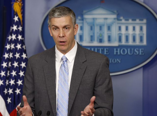 U.S. Secretary of Education Arne Duncan briefs the press at the White Housel in Washington, March 14, 2014. (Larry Downing/Reuters)