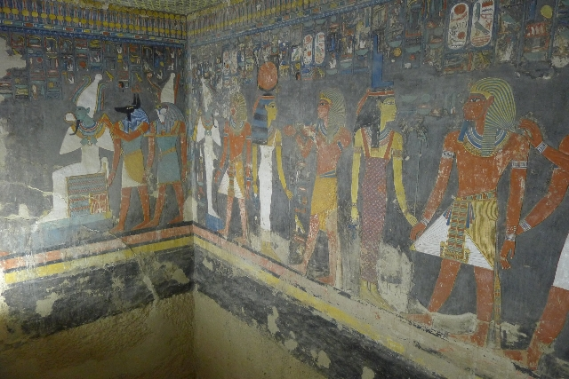 Inscriptions on a wall at the Horemheb tomb in the Valley of the Kings in Luxor, Egypt, Sept. 29, 2015. A British archaeologist has been given the go-ahead by Egyptian authorities to search Tutank ...