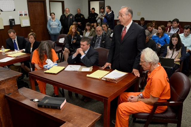 Bruce Leonard (left) and Deborah Leonard (right) appears in court on October, 15, 2015, after the fatal beating of Lucas Leonard in the sanctuary of Word of Life Christian Church in Hartford, New  ...