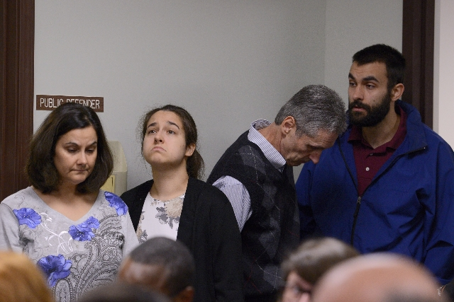 Linda Morey (far left) and David Morey (far right) appear in court on October, 15, 2015, after the fatal beating of Lucas Leonard in the sanctuary of Word of Life Christian Church in Hartford, New ...