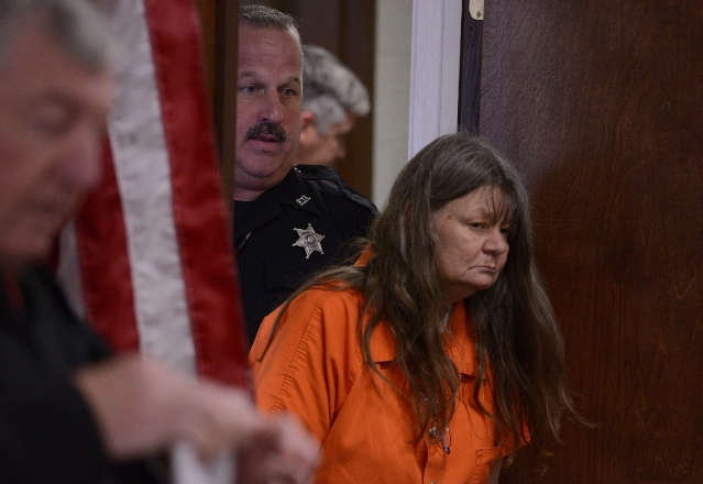 Deborah Leonard appears in court on October, 15, 2015, after the fatal beating of Lucas Leonard in the sanctuary of Word of Life Christian Church in Hartford, New York. (CNN)