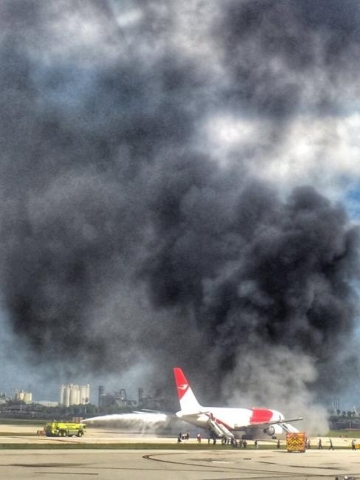 A Boeing 767 caught fire while taxiing for departure at Fort Lauderdale-Hollywood International Airport in Florida, Thursday, Oct. 29, 2015. (CNN)