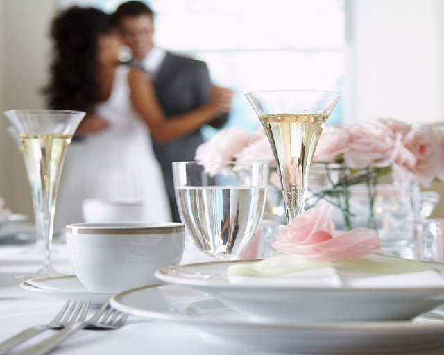 Bride and Groom Dancing at Reception (Thinkstock)